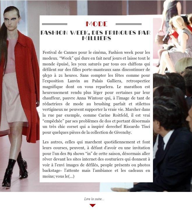 Fashion week, des fringues par milliers