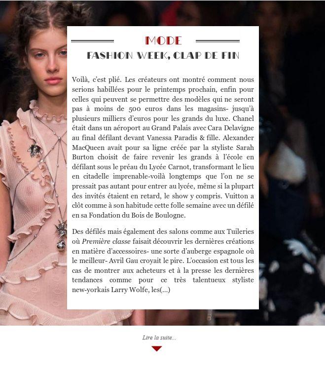 Fashion week, Clap de fin