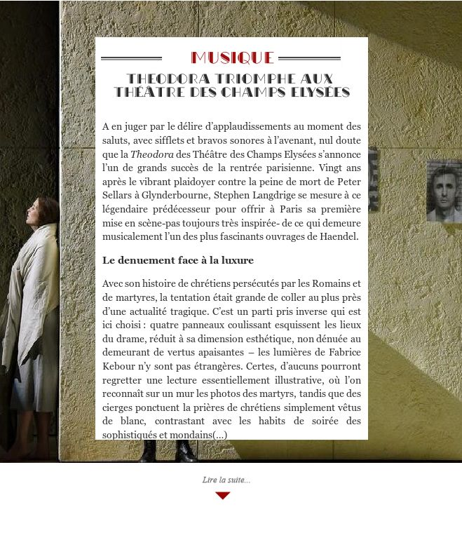 Theodora triomphe aux Théâtre des Champs Elysées