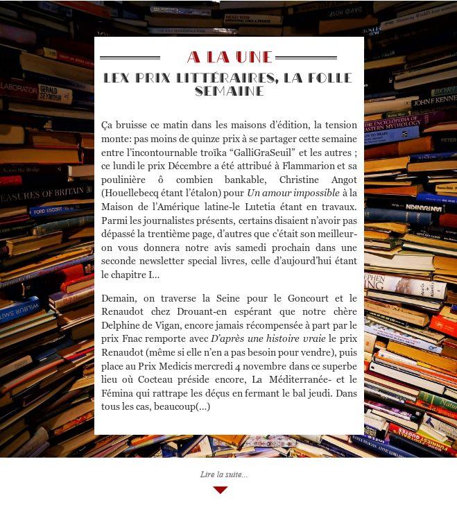 Lex prix littéraires, la folle semaine