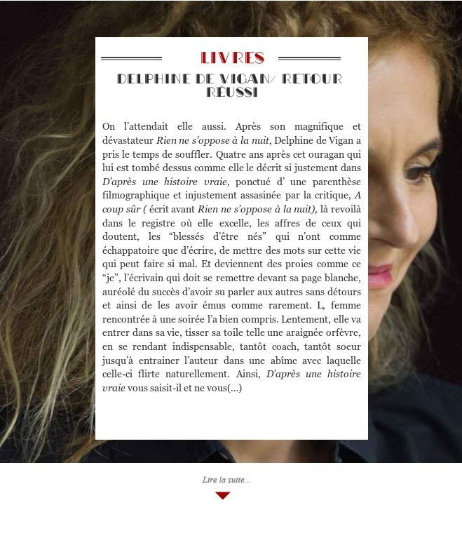Delphine de Vigan/ Retour réussi