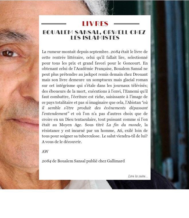 Boualem Sansal, Orwell chez les islamistes