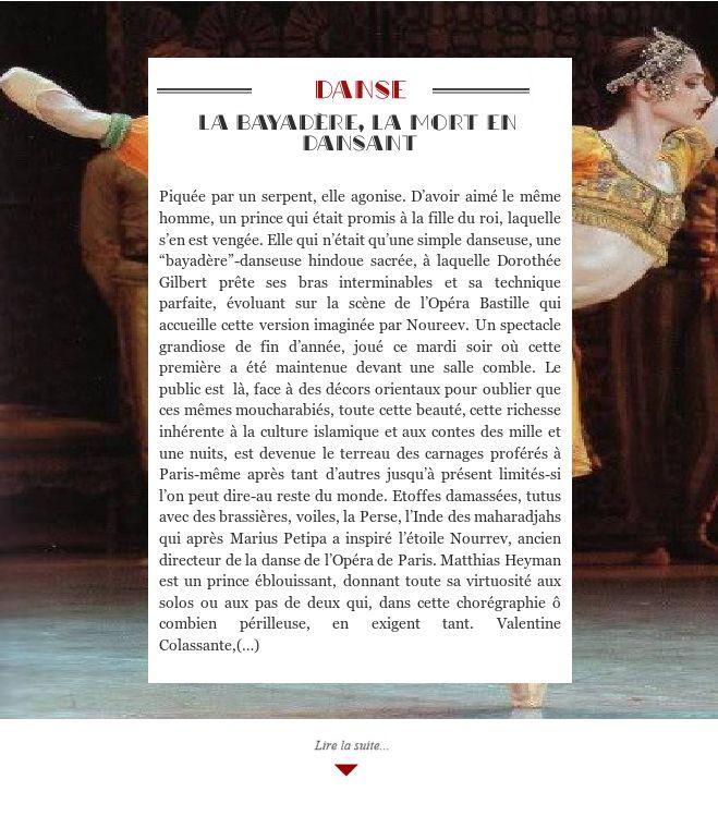 La Bayadère, la mort en dansant
