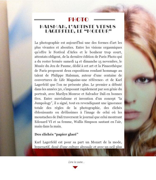 """Halsman, l'artiste versus Lagerfeld, le """"modeur"""""""