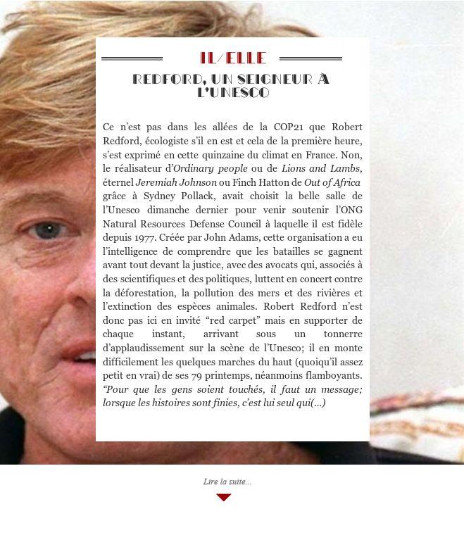 Redford, un seigneur à l'Unesco