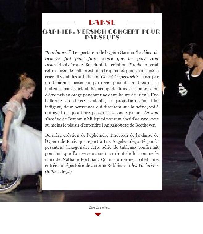 Garnier, version concert pour danseurs