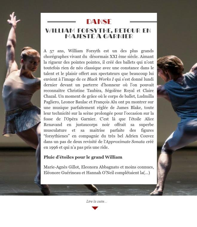 William Forsythe, retour en majesté à Garnier