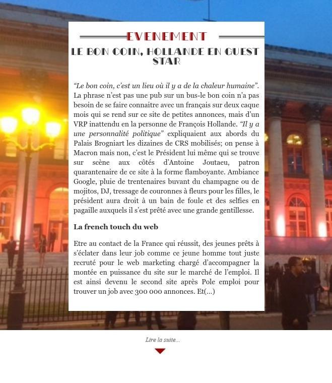 Le bon coin, Hollande en guest star