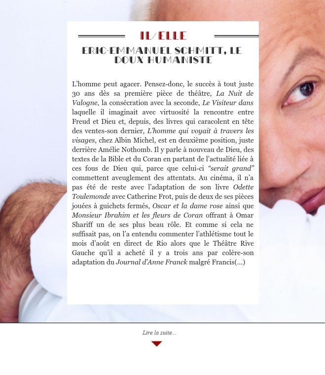 Eric-Emmanuel Schmitt, le doux humaniste