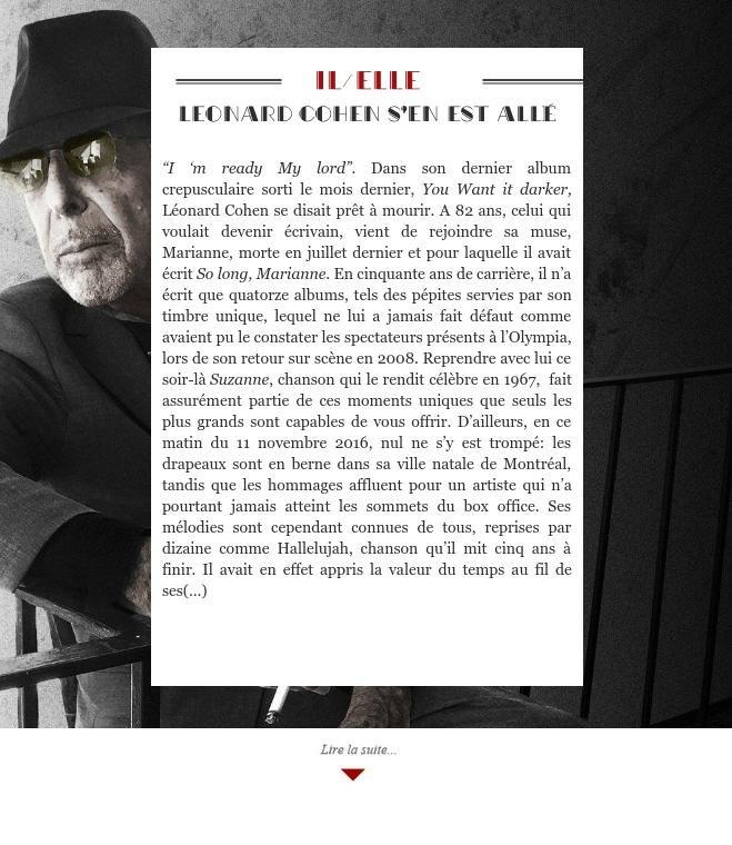 Leonard Cohen s'en est allé