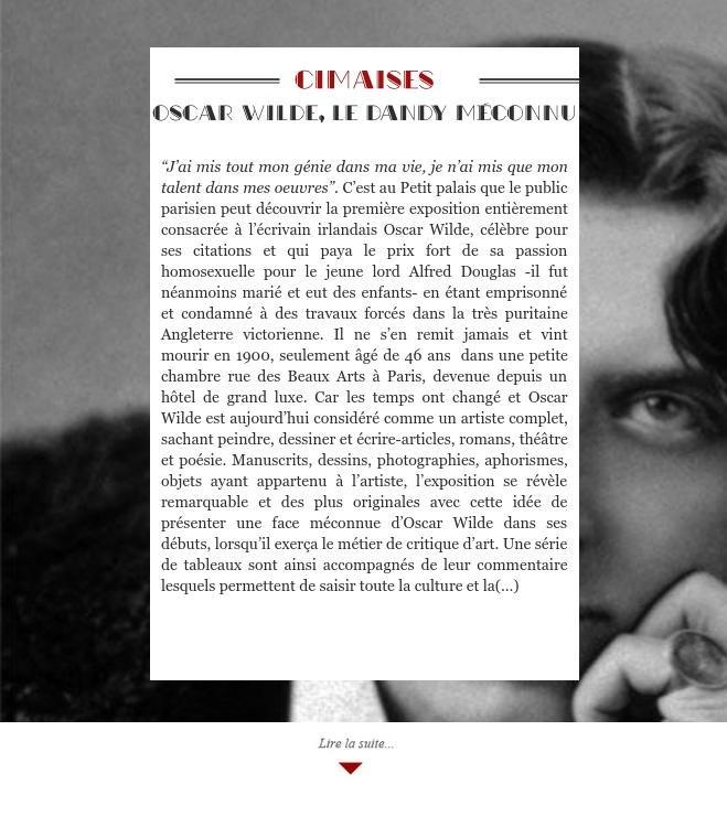 Oscar Wilde, le dandy méconnu