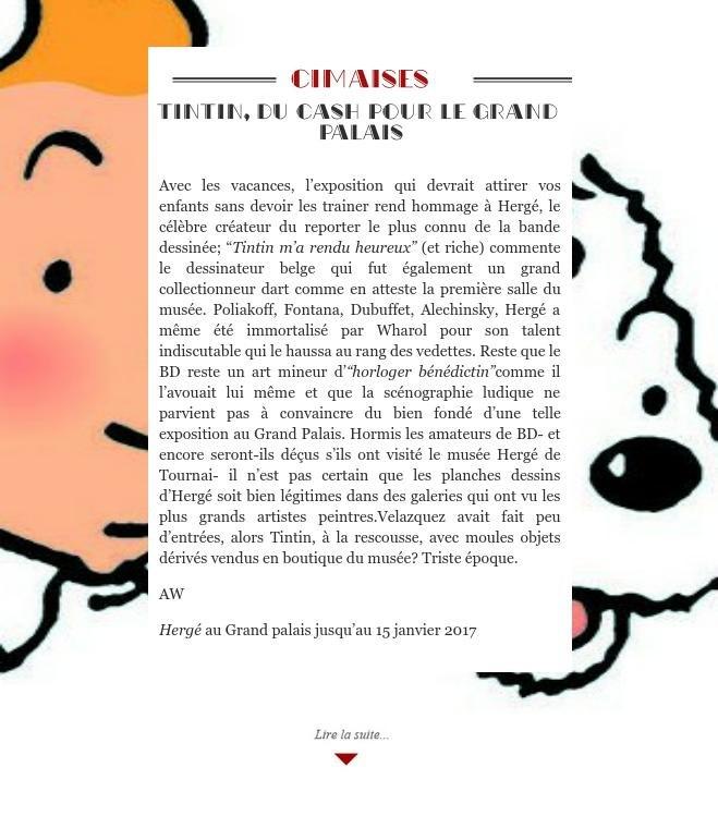 Tintin, du cash pour le Grand Palais