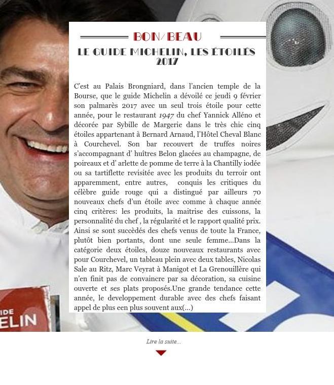 Le guide Michelin, les étoilés 2017