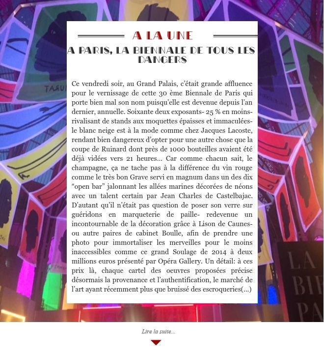A Paris, la Biennale de tous les dangers