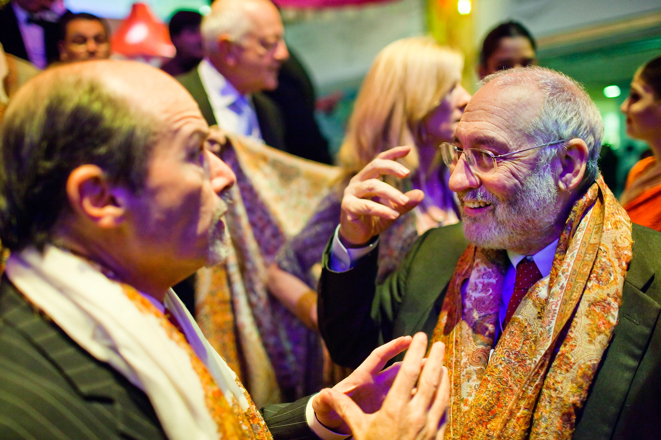 India Cultural Soirée. Robert Lawrence speaking with Joseph Stiglitz.